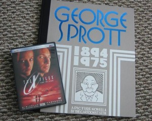 George Sprott compared with DVD case for scale