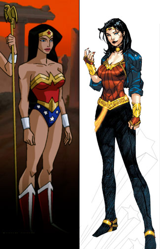 Wonder Woman: at left, the traditional costume, at right, the 2010 redesign