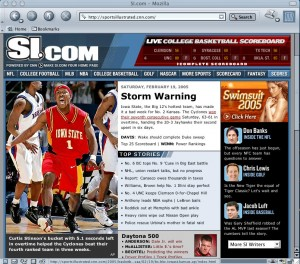 Screen shot of Sports Illustrated web site