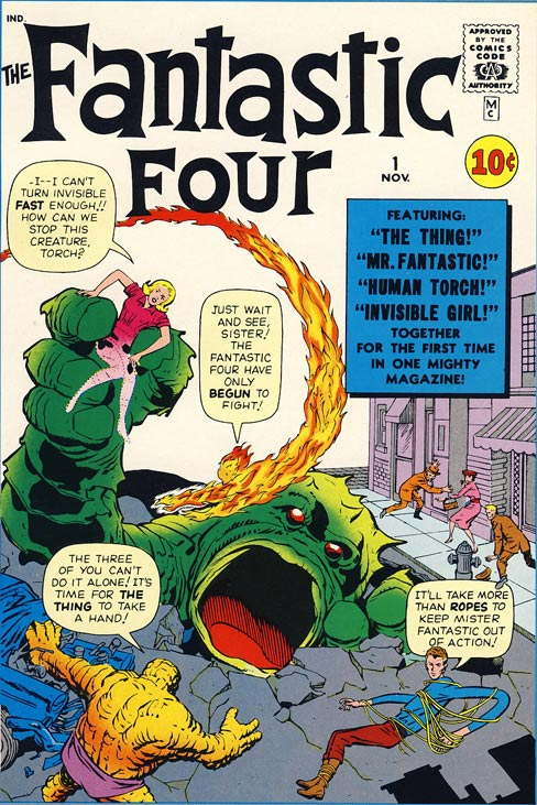 Cover of Fantastic Four #1 featuring big-honking Comics Code of Authority stamp