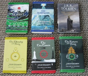 Covers of six works by J.R.R. Tolkein