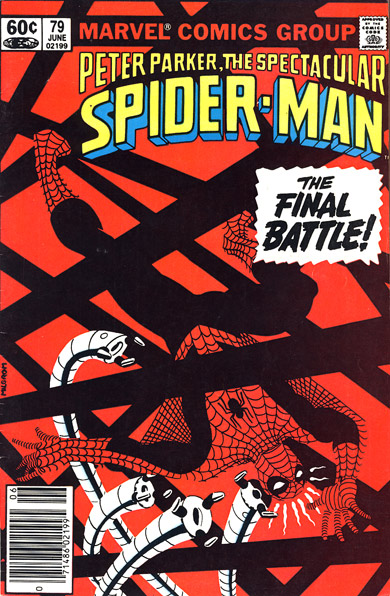 Cover of Peter Parker: Spider-Man showing reduced code stamp as of early 1980s