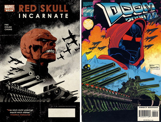 Red Skull and Doom 2099 covers based on same WWII German propaganda poster