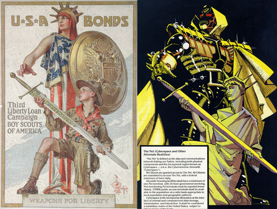 American WWI-era war bond poster, and artwork from 2099: World of Doom Special