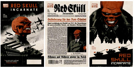 Covers from Red Skull: Incarnate series, by David Aja