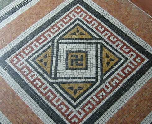 Swastika found on tiled floor of Garfield Monument, Lake View Cemetery, Cleveland, Ohio