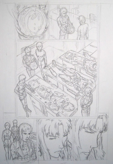 Page from imaginary, unlicensed, incomplete Bubblegum Crisis comic book