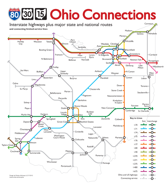 Simplified Ohio highway system in the style of the London Underground Connections map