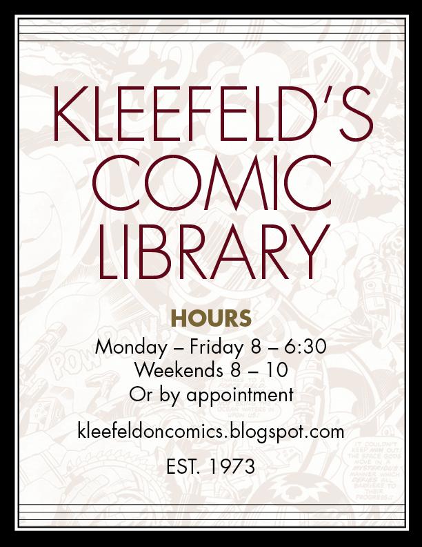 Kleefeld's Comic Library door sign