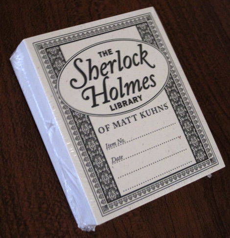 Stack of Sherlock Holmes library book plates