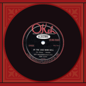 "Photo of vintage ""OKeh"" label Bix record album"