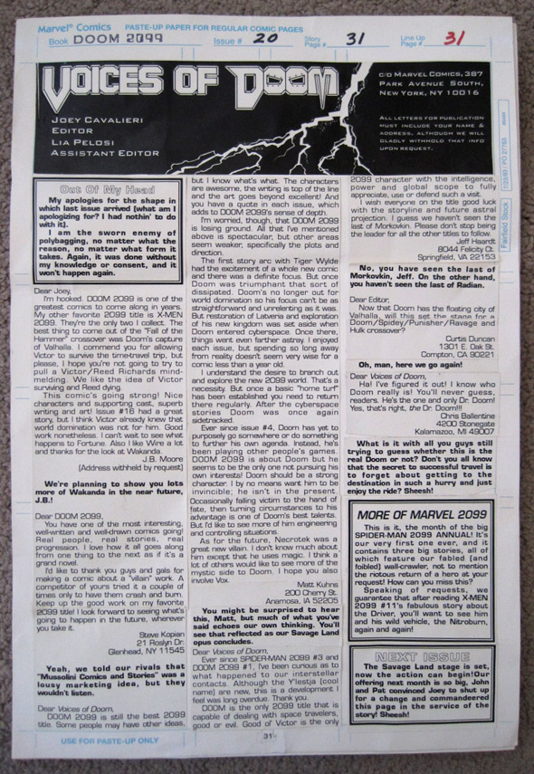 Letter column paste-up page from Doom 2099 #20