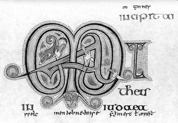 Drawing of part of the Lindisfarne Gospels